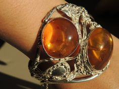 Sterling 925 Baltic Amber Bangle Bracelet