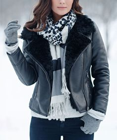 Look at this Donna Salyers' Fabulous-Furs Black Faux Fur-Lined Jacket - Plus Too on #zulily today!