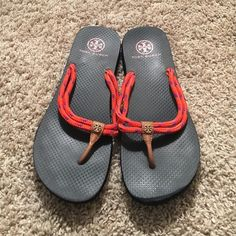 Tory burch flip flops Worn once or twice! Tory burch rope flip flops in navy/coral with purple detail. Tory Burch Shoes Sandals