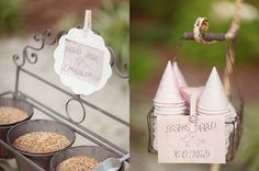 Tossing bird seed is not only a great alternative to throwing rice, but it's a fun treat for the birds after the reception is over!