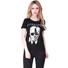 Summer 2016 LAGERFELD letter printed t-shirts Skull Ghost Pattern Tops Tees Women O neck T-shirt Harajuku femme