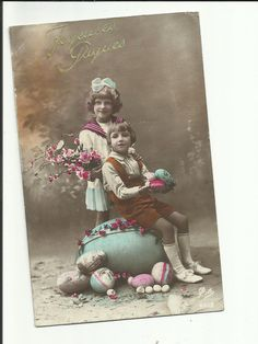 antique french easter postcard with children & a giant egg from iamcameo2 on etsy