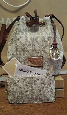 Michael Kors Jules Drawstring Crossbody Bag Purse Matching Wallet Logo White Ebay Leather Backpack