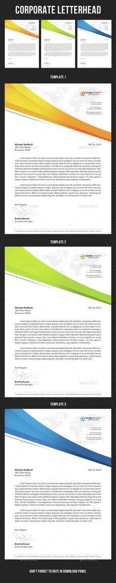 Corporate #Letterhead v01 - Stationery Print Templates Download here: https://graphicriver.net/item/corporate-letterhead-v01/14860284?ref=alena994