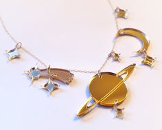 Gold Mirror Planets and Stars Necklace Laser Cut Acrylic Space Jewelry Moon Necklace