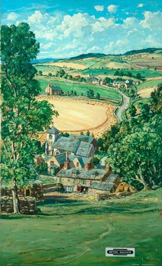Gloucestershire - UK - by Claude Muncaster Vintage Railway Travel Poster - Posters Uk, Railway Posters, Cool Posters, Landscape Art, Landscape Paintings, British Travel, Art Uk, Vintage Travel Posters, Pretty Pictures