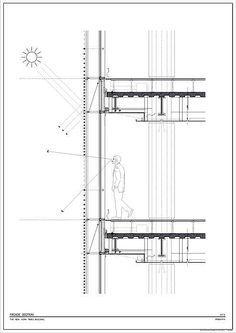 Renzo Piano New York Times Urban Design Curtain Wall Detail, Glass Curtain Wall, Renzo Piano, Classical Architecture, Facade Architecture, Drawing Architecture, Architecture Diagrams, Chinese Architecture, Architecture Portfolio
