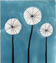 Watercolor Flowers -- Mini Art Print -- Aqua Dandelions -- ACEO Print