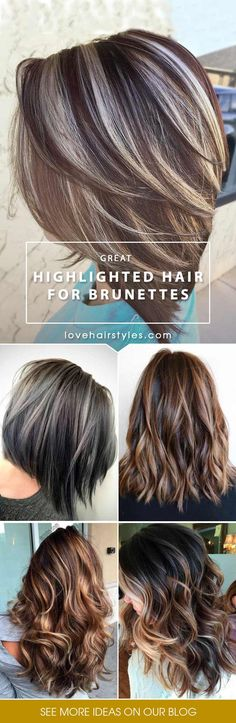 Highlighted hair is really glamorous whether it is ombre, sombre, or balayage. We have collected ideas of brunette hair with highlights.#haircolor#brownbalayage#highlights#blondebalayage