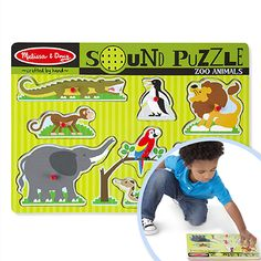 Melissa & Doug's wooden sound puzzles make for a rewarding first puzzle experience. Knob or peg puzzles make it easier for children to position the pieces correctly in the matching hole. And when they make a correct match, the puzzle plays a sound or a song for instant feedback. This positive reinforcement – action and reaction – encourages a child to do the puzzle again and again, building confidence in their ability. Positive Reinforcement, Sensory Toys, Confidence Building, Family Games, Knob, Plays, Puzzles, Action, Puzzle