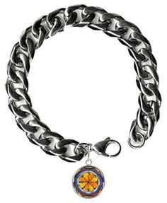 "Solomons 6th Saturn Foes Tormented By Demons 9"" Mens Bracelet 12mm Thick Curb Chain"