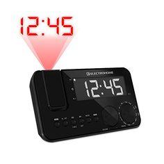 Electrohome EAAC500US AM/FM Projection Clock Radio with WakeUp! Battery Backup Alarm, Jumbo 1.2 inch LED Display, SelfSet Auto Time Set & Dual Al