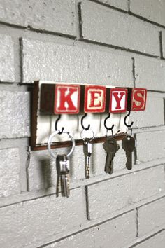 Items similar to Red Block Key Rack on Etsy