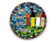 Build Your Own World. Handmade Mixed Media Mosaic by ShawnDuBois, $48.00