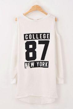 Cutout Shoulders High-Low Printed Sweatshirt