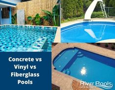 Shopping for an inground pool? Wondering which type is right for you? Check out our guide to compare the three main inground pool types: concrete, vinyl, and fiberglass. Inground Pool Designs, Fiberglass Swimming Pools, Stock Tank Pool, Vinyl Pool, Gunite Pool, Pool Liners, Concrete Pool, Backyard, Patio