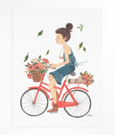 Girl on Bike - poster via Etsy