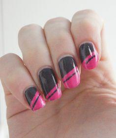nail art pink brown