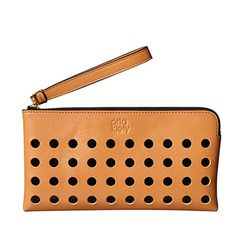 Orla Kiely | UK | Accessories | SALE - Accessories | Resort Collection Spot Stripe Leather Flat Zip Purse (15RBSPS155) | Camel