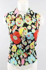 ALBERTO MAKALI Black Multi-Color Floral Print Sleeveless Collared Top Sz S