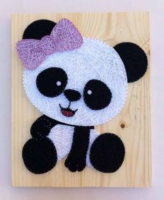 The 10 Best Home Decor. Have you ever seen such a sweet panda? How about decorating your baby& room with this lovely panda? Ideas for home decor. String Wall Art, Nail String Art, String Crafts, Yarn Crafts, Nail Art, Diy Arts And Crafts, Creative Crafts, Decoration Creche, String Art Patterns