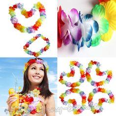 4Pcs Tropical Flower Lei Leis Hawaiian Beach Luau Party Necklace Wedding Decor