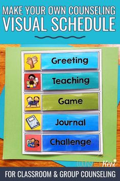 Counseling Visual Schedules for Classroom Guidance and Group Routines Visual Schedule Preschool, Visual Schedules, Special Education Teacher, Physical Education, Character Education, Elementary School Counselor, Elementary Schools, Preschool Speech Therapy, Classroom Routines