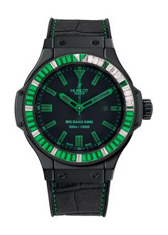 Big Bang King All Black Green Jewellery 48mm Diver watch from Hublot