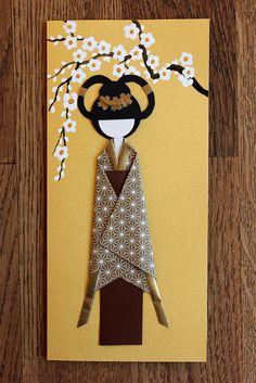 Origami Japanese postcard, Japanese kimono paper, Japanese spring, paper art, oriental art, Japanese Origami Doll, postcard 026 by Orientalgallery on Etsy