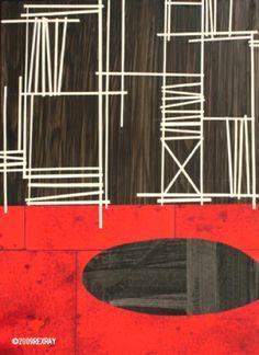 Patterns e textures nei collage su legno e tela di rex ray