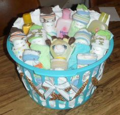 : ) Diaper baby gift basket for my friends baby shower..