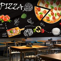 Free Shipping Blackboard graffiti food pizza theme wallpaper western restaurant coffee shop coffee snack Cafe wallpaper mural