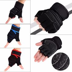 1Pair Weight Lifting Glove Half Finger Anti-skid Gym Training Fitness Gloves Bodybuilding Workout Sports Gym Gloves