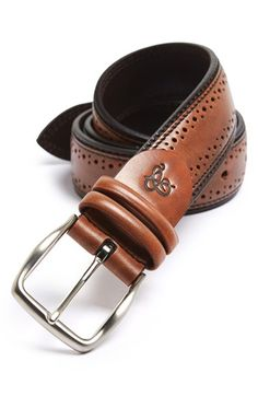 Canali 'Vitello' Brogue Leather Belt available at #Nordstrom
