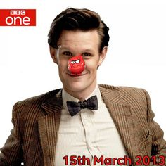 The Doctor makes an appearance March 15 as part of Comic Relief on BBC One, hosted by David Tennant. // Officially my new favorite picture of Matt Smith/the Doctor ever. Doctor Who Comics, All Doctor Who, 11th Doctor, Red Nose Day, Through Time And Space, Fictional World, Weird Stories, Torchwood, Matt Smith