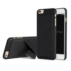 iPhone 6 6s Case, Akiko Stand Case [Origami Series] Ultimate Protection Scratch Proof Soft Interior Leather HardCase with [Foldable 2-Way Stand Feature] for iPhone 6 6s, Black