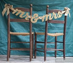 DIY glittery Mr. & Mrs. chair banner. Found on its a brides life #chairdecor #glitter