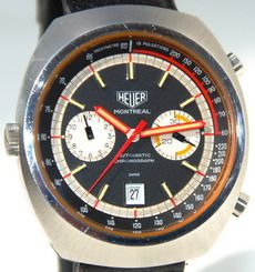 Montreal chronographs were powered by either the Caliber 12 movement or the Valjoux 7750 movement Black