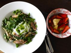 Cous cous, chicken and wild garlic pesto - pine apple and strawberries all under 400 calories