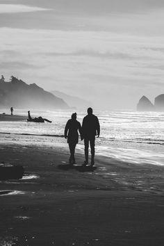 Two People on Seashore in Grayscle