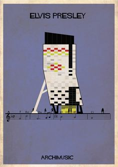 Classic songs illustrated as buildings – Can't Help Falling In Love by Elvis Presley.