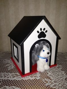 Dog Cat  or pet house for American Girl or 18 inch doll  pets for  BOYS and GIRLS black red white.