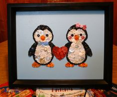 Penguin Couple  Handmade Button & Bead Wall Art with
