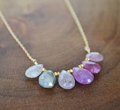 sapphire drops necklace  /// shaded sapphire layering gold necklace /// september birthstone