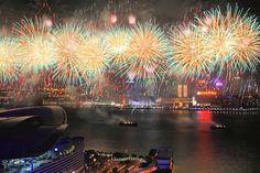 Victoria Harbour Fireworks by len_skapp, via Flickr
