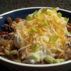 Browned cubes of steak are sauteed with chopped onions, garlic and jalapeno peppers in this kidney bean chili seasoned with cumin and chili powder.