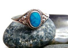 Silver Blue Ring  Vintage by ReTainReUse on Etsy, $18.00