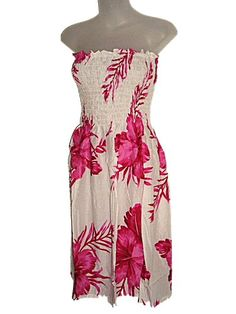 6886616ae1 HAWAIIAN PINK HIBISCUS WHITE SUN DRESS- ONE SIZE « StoreBreak.com – Away  from the busy stores. Store Break
