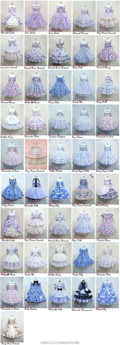 Lolita dresses - wish this was an inventory of my closet :(