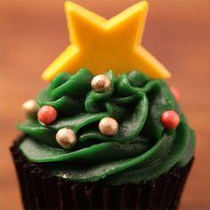 Cupcake de pistache de Natal.